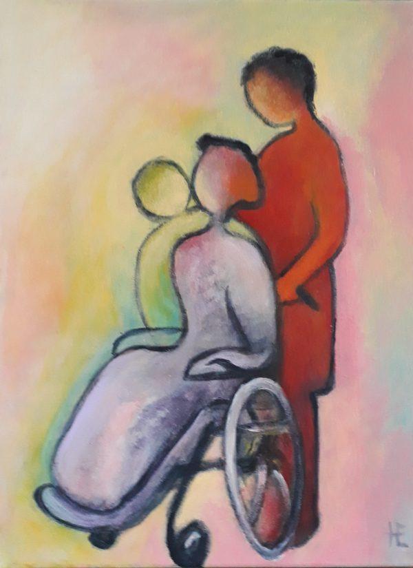 Dame in rolstoel