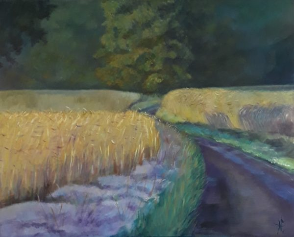 Schilderij de weg door het koren.